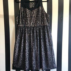 Leopard and Lace Black/Tan Dress